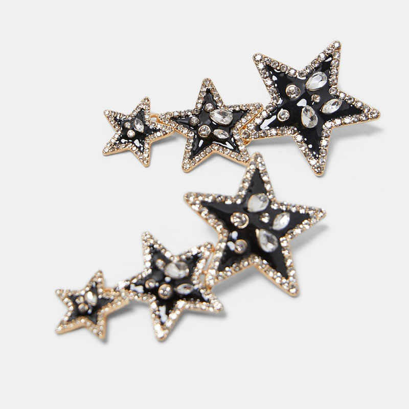 Best lady ZA Metal Star Drop Dangle Earrings For Women Wedding Party Fashion Pendant Earring Multicolored Charm Trendy Jewelry