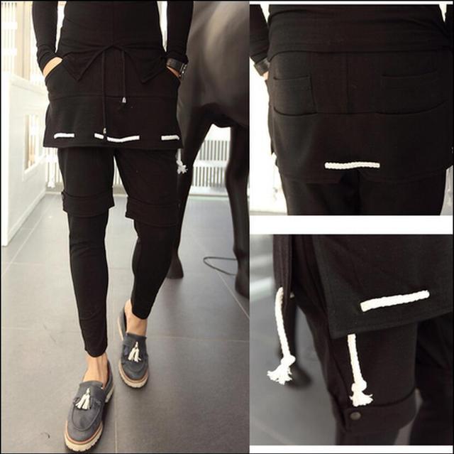 27-42 Coreano maré dos homens Novos calças Falso três culottes personalidade do punk calça casual plus size Culottes saia trajes cantor