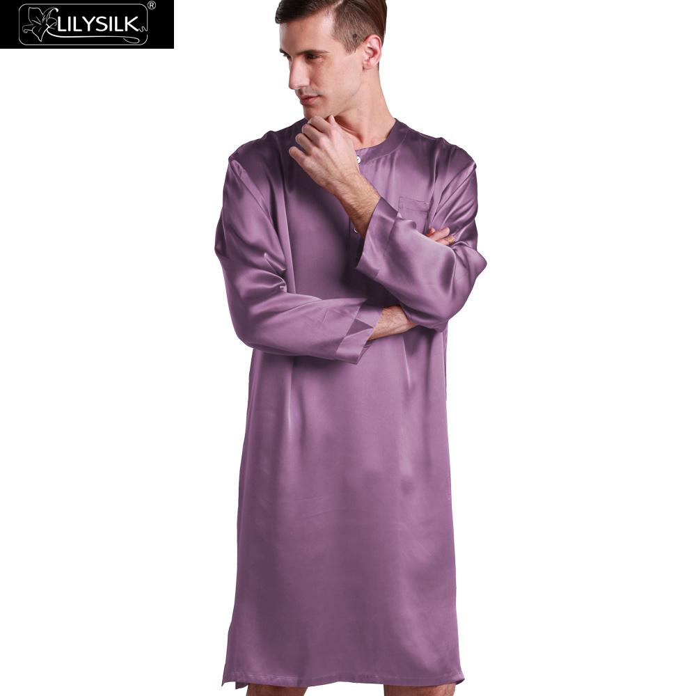 Lilysilk Silk Robe For Men 22 Momme Robes Violet Sexy Male Nightshirt For Sleeping Dressing Gown