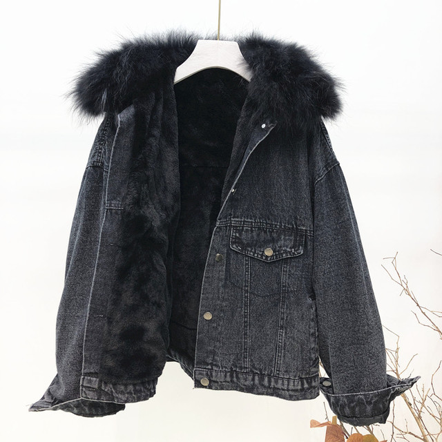 Winter Women Thick Flocking Denim Jacket Warm Natural Fur Collar Parka Brand Female Diamonds Overcoat Plus Size Long Sleeve Coat 1