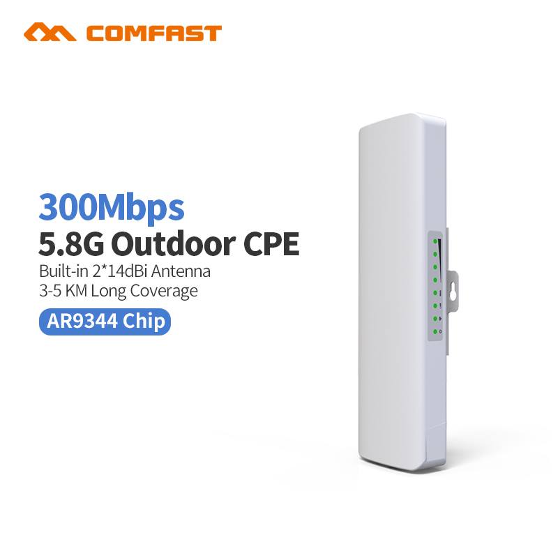 3km Long Range 5.8Ghz 300Mbps Wireless Outdoor CPE wifi Bridge High Power Wireless Router 14dBi Antenna Wi fi 48V POE Adapter ap outdoor cpe 5 8g wifi router 200mw 1 3km 300mbps wireless access point cpe wifi router with 48v poe adapter wifi bridge cf e312a