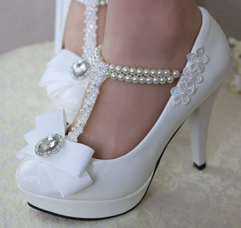 Newest design women white wedding shoe bow beading pearl strap delicate 100% handmade low high heels proms dress shoe half placket pearl beading tie cuff dress