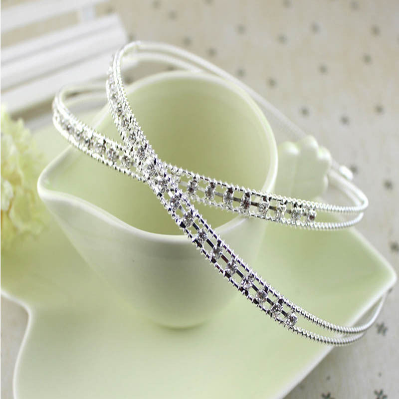 1 pcs Fashion Women Girls Metal Crystal Headband Head Piece Hair Bands Jewelry Silver Gold Color Hair Accessories