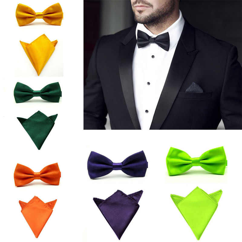 Zijde Effen Business Bowtie Mannen Vintage Paars Gesneden Mode Novelty Ties Zwart Wedding Bow Tie Pocket Plein Zakdoek Set