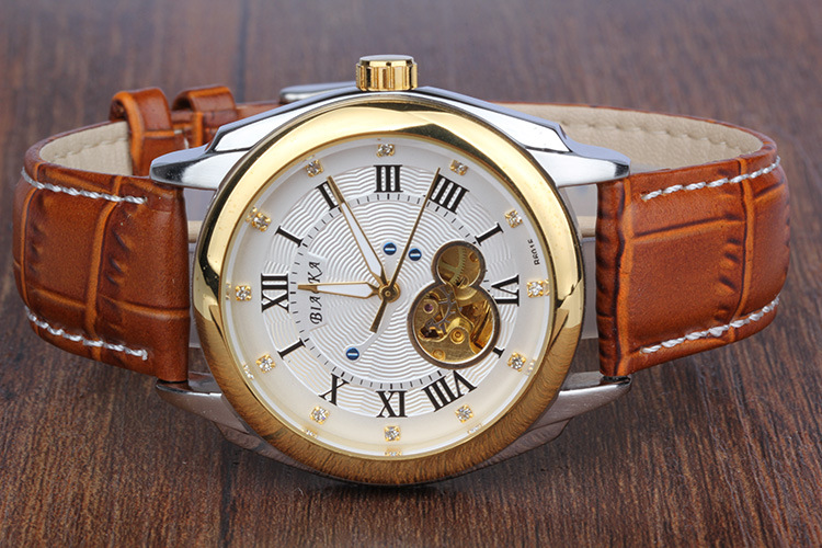 2016 brand BIAOKA men s watch rose gold Roman numerals Leather Casual sport Automatic Skeleton Mechanical