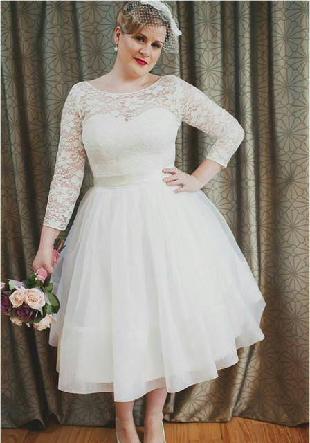 New Stunning Short Plus Size Wedding Dresses Long Sleeve Lace Tulle ...