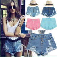 New Ripped Pocket women shorts Summer casual denim vintage hot Sexy hole denim shorts high Waist short jeans women Dropship