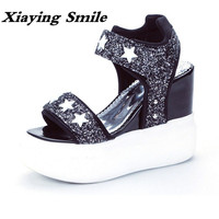 Xiaying Smile Summer Woman Sandals Shoes Women Pumps Platform Wedges Heel Fashion Casual Solid Loop Bling
