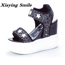 Xiaying Smile Summer Woman Sandals Shoes Women Pumps Platform Wedges Heel Fashion Casual Loop Bling Star Thick Sole Women Shoes