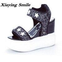 Xiaying Uśmiech Lato Kobieta Sandały Buty Damskie Platformy Pomp Kliny Obcas Mody Przypadkowi Pętli Bling Gwiazda Gruby Sole Women Shoes