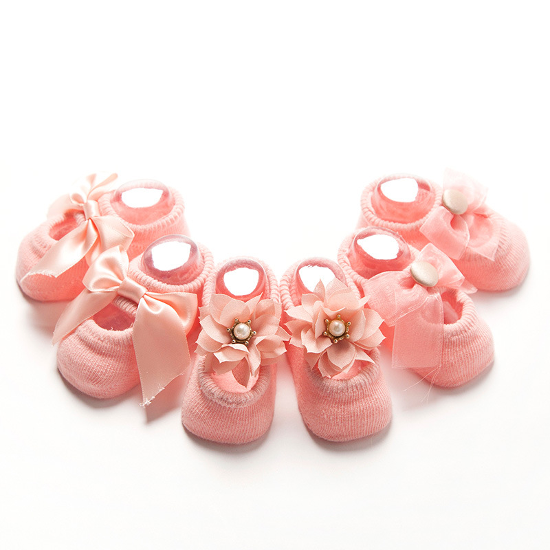 3 Pair/Set Baby Socks Cotton Lace Flower Bowknot Infant For Girls Socks Antiskid Floor Socks Princess Birthday Christmas Gifts