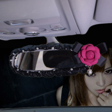 Жемчужный цветок камелии Автомобильный интерьер зеркало заднего вида крышка искусственная кожа авто задние художественные декорации Аксессуары для женщин и девочек