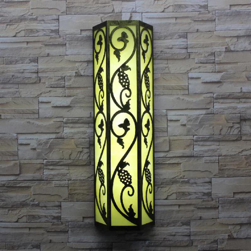 Китайский стиль вертикальный светодио дный Наружное освещение T5/E27 светодио дный Водонепроницаемый настенный светильник бра сад двор кори