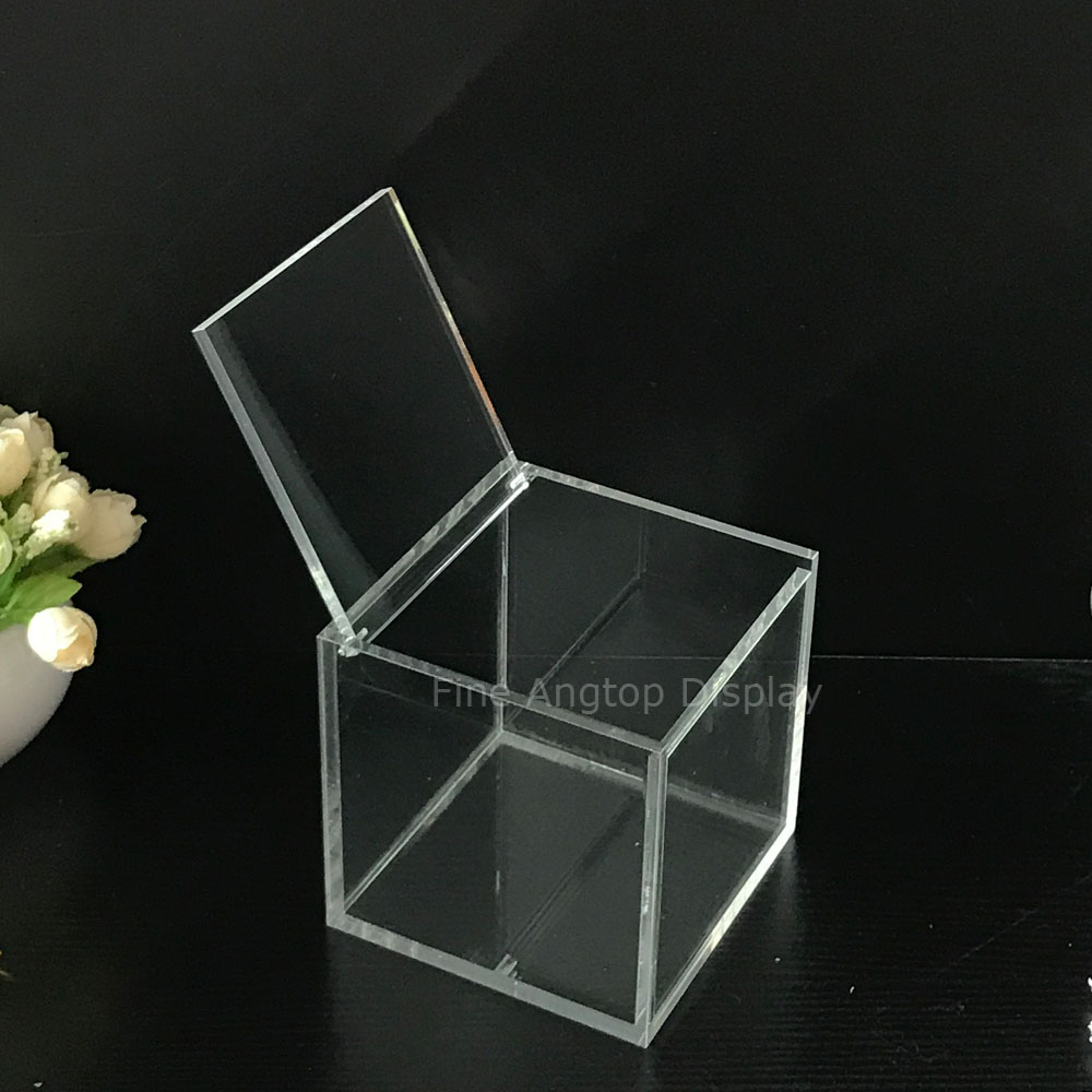 Multifunction clear acrylic cube box jewelry display storage box with lids 9x9x9cm