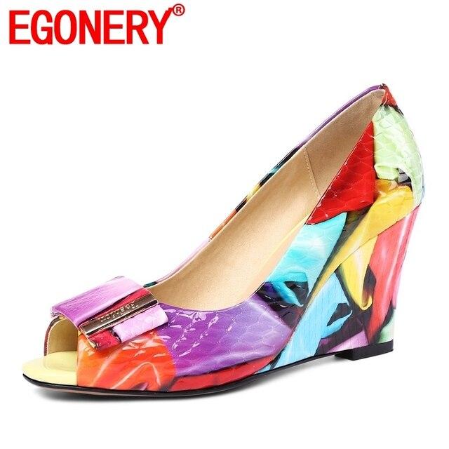 EGONERY di modo pompa i pattini 2019 di estate delle donne del cuoio genuino tacchi alti zeppe peep toe scarpe partito più il formato della signora danza pompe