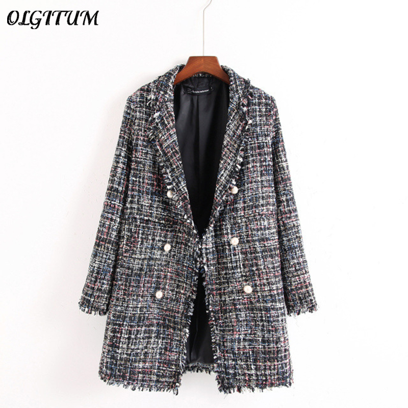 Fresh Style Spring/Autumn Female Casual Jacket Coat Hand-tassel Loose Coat Checkered Tweed Coat Jacket Lapel Thick Jacket