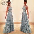 Ruiva Bateau Neck Mangas Laço Azul Vestido de Baile com As Costas Abertas Formal Vestido de Festa para Casamentos e Eventos