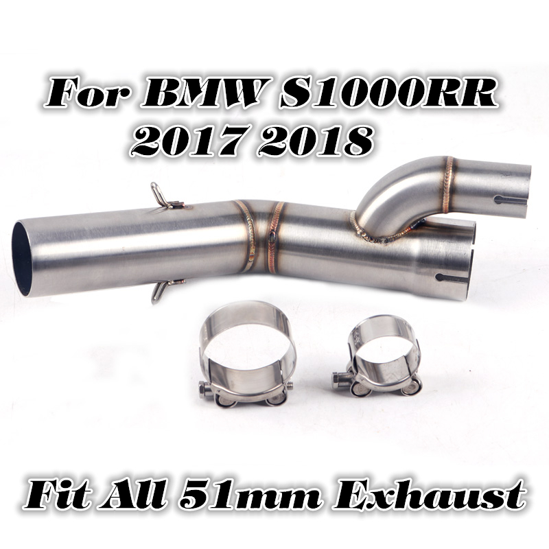 Slip on For BMW <font><b>S1000RR</b></font> <font><b>2017</b></font> <font><b>2018</b></font> 60MM Inlet Motorcycle 304 Stainless Steel <font><b>Exhaust</b></font> Middle Link Pipe Full System image