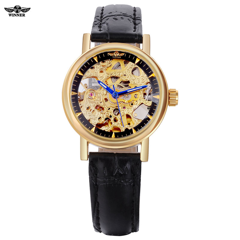 2016 WINNER watches women lady luxury brand skeleton automatic mechanical wristwatches artificial leather band relogio feminino winner crystal rhinestone analog automatic golden black skeleton steampunk leather band mechanical watches mens relogio pmw422