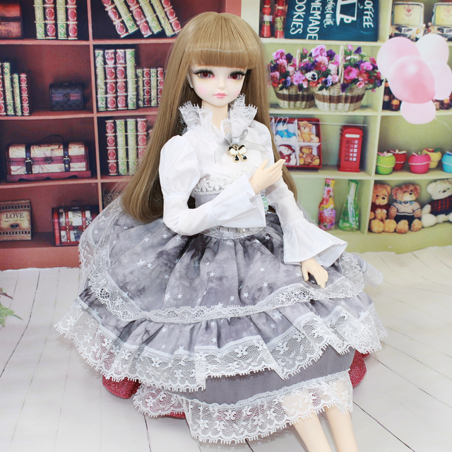 1/4 BJD 45cm Jiont Body Clothes Grey Skirt Lady Princess Outfit Forturn Days Special Offer Free Shipping