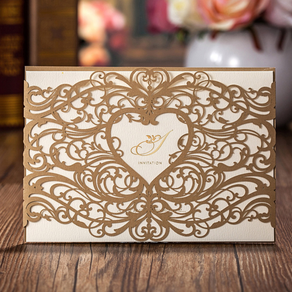 50pcs lot WISHMADE Laser Cut Wedding Invitations Cards with Gold Red Hollow Heart Design Cardstock Customizable