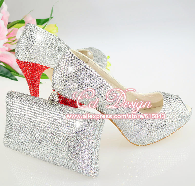 b5a2e37338d8 free shipping sexy ladies sparkly silver rhinestones high heels peep toe  wedding bridal shoes and matching clutches bag
