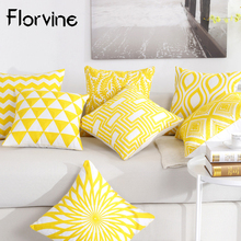 купить Hot Sale Embroidery Cushion Cover Yellow Pillowcase 45*45 Sofa Chair Seat Decorative Pillows Home Office Car Cushions Home Decor дешево