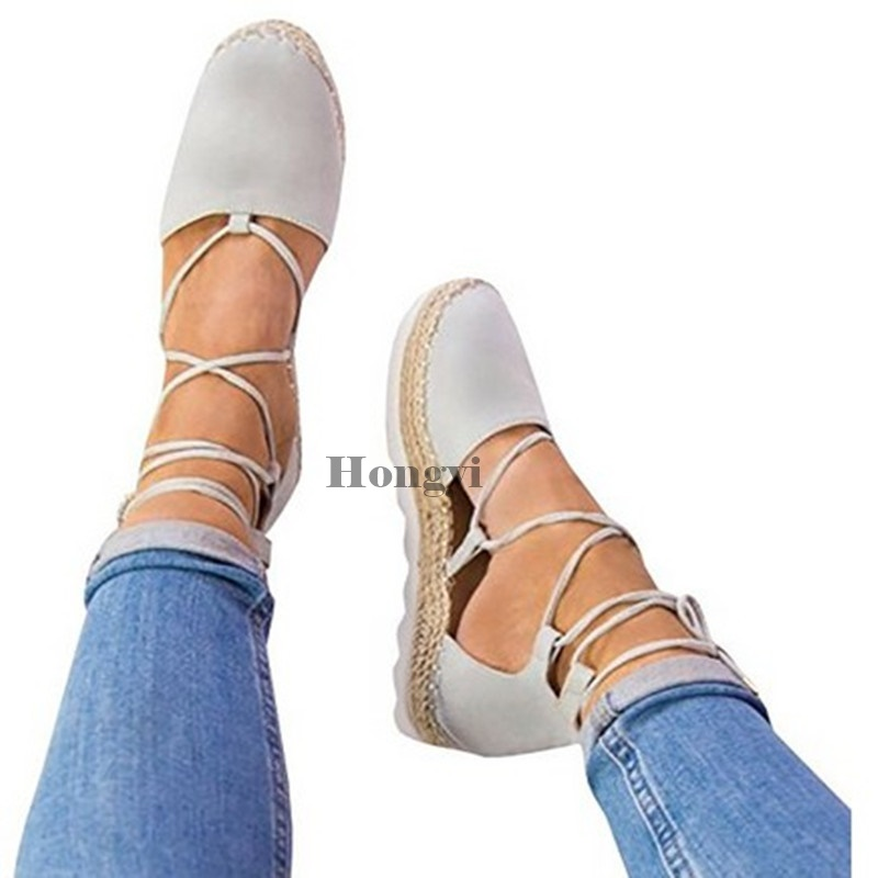 Canvas Espadrille Flats Women Ankle Strap Hemp Bottom Open Toe Fisherman Shoes For 2018 Spring/Autumn Women Loafers Plus Size 44 все цены