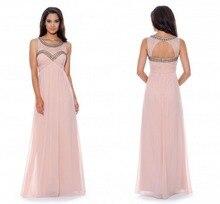 Prom Dresses Verkauf 2015 Pretty A-line Scoop Neck Bodenlangen Chiffon Kleid Kleid Langen Abend Formal Drapierte Sleeveless F1968