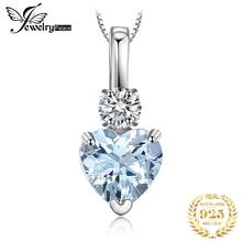 лучшая цена JewelryPalace Heart Love 0.8ct Natural Aquamarine White Topaz Pendant 925 Sterling Silver Pendant Fine Jewelry Statement Jewelry