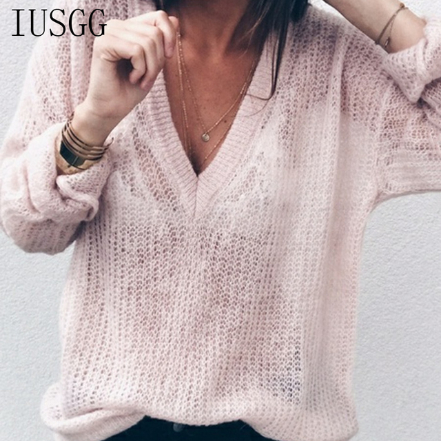 21b26e2e9c Fashionable Female Loose Sweater Mohair Deep V neck Tops Casual Sexy Basic  Sweaters Trendy Brand Thin Knitted Jumper Women Girl