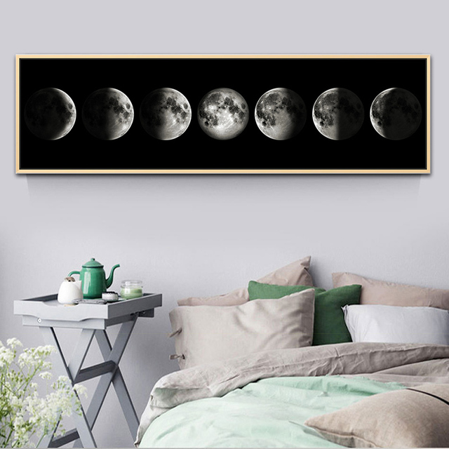 Moon Phases Long Canvas Painting