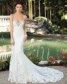Vestido De Novia Correa de Espagueti Backless de La Sirena Tribunal Tren Vestido de Novia Vestido de Las Novias de Encaje de Novia de Lentejuelas Vestido de Novia WM68