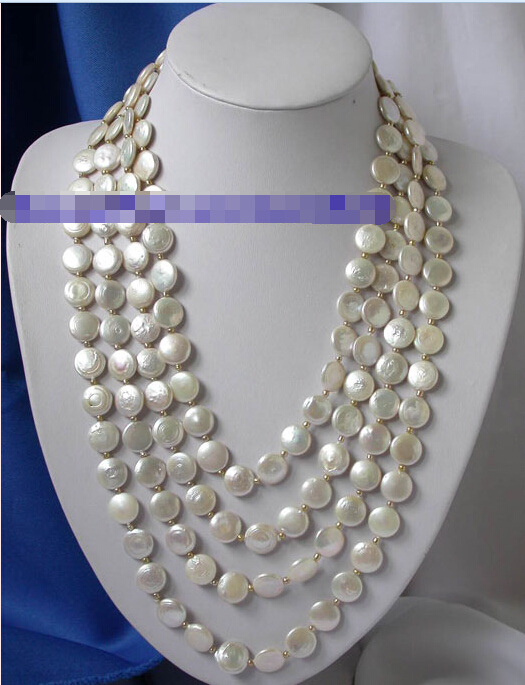 "n1356 Stunning 100"" 14mm white coin pearl Necklace AAA"