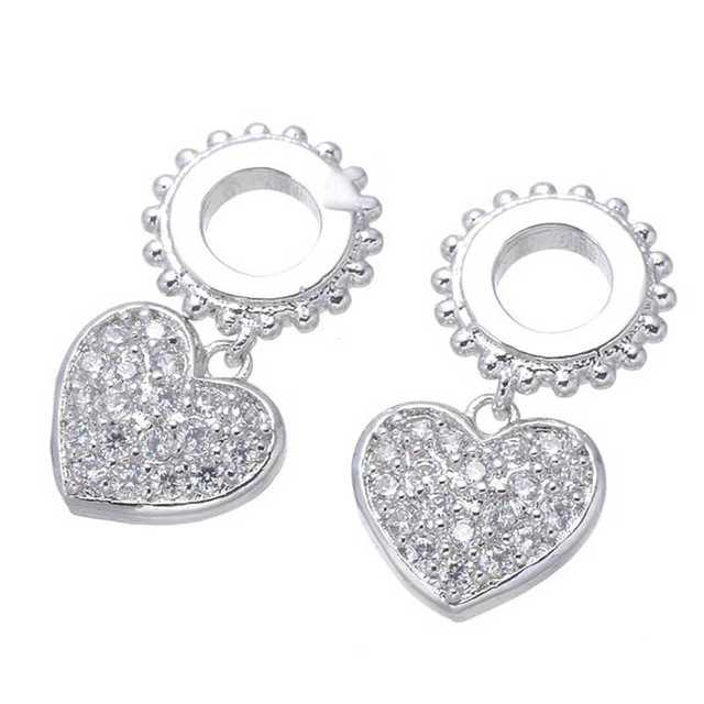 DIY findings copper luxury cubic zirconia rhinestone heart floating charms  for jewelry making breloque pendants for 5eb7dab8ed68