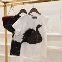 2018 New Fashion Summer Student Girls Swan Feathers Sequins Cotton T shirt Casual Short Sleeved Tees Women Tops
