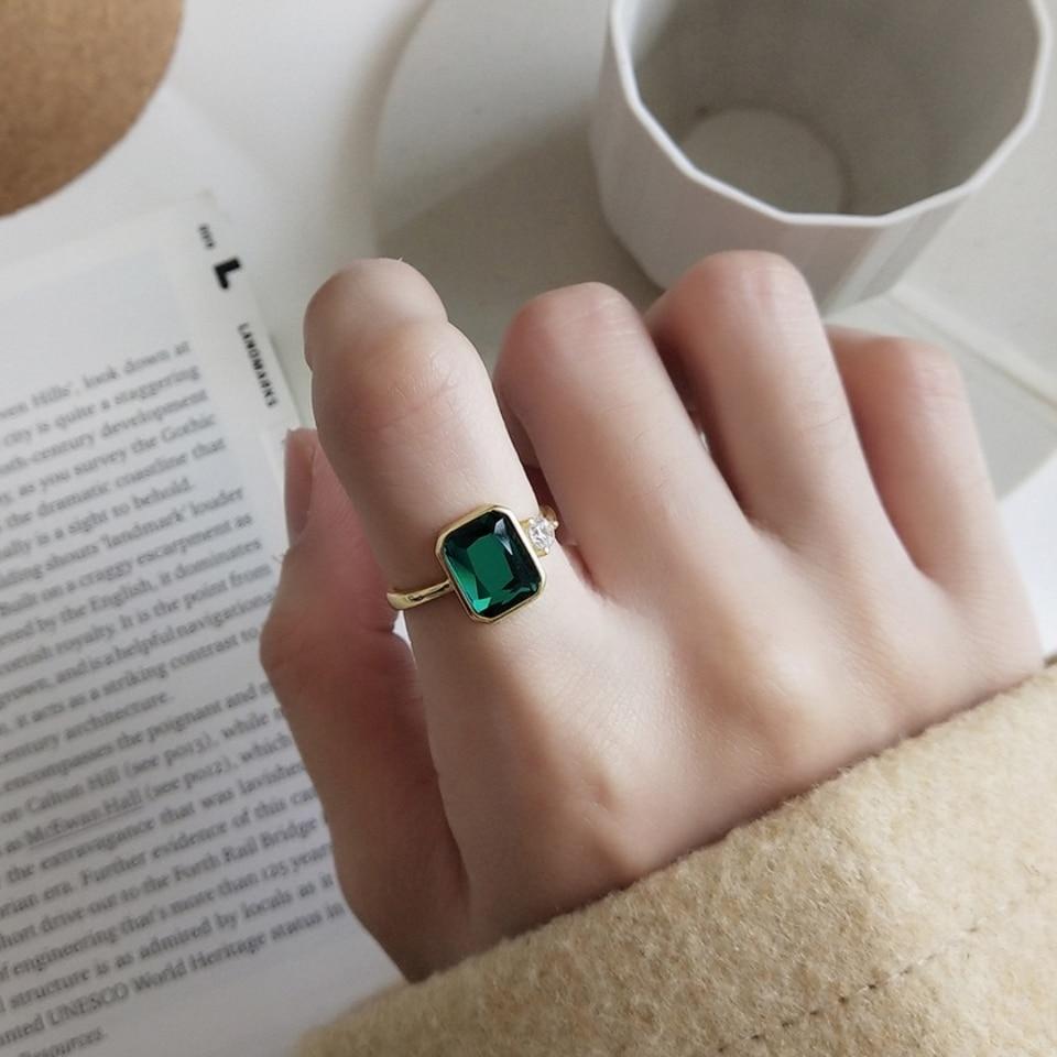 club donde quiera Egoísmo  Anillo de piedra de cristal de Esmeralda verde rectangular para mujer y  niña, Plata de Ley 925, con circonita transparente pequeña, anillos  abiertos, regalo|Anillos| - AliExpress