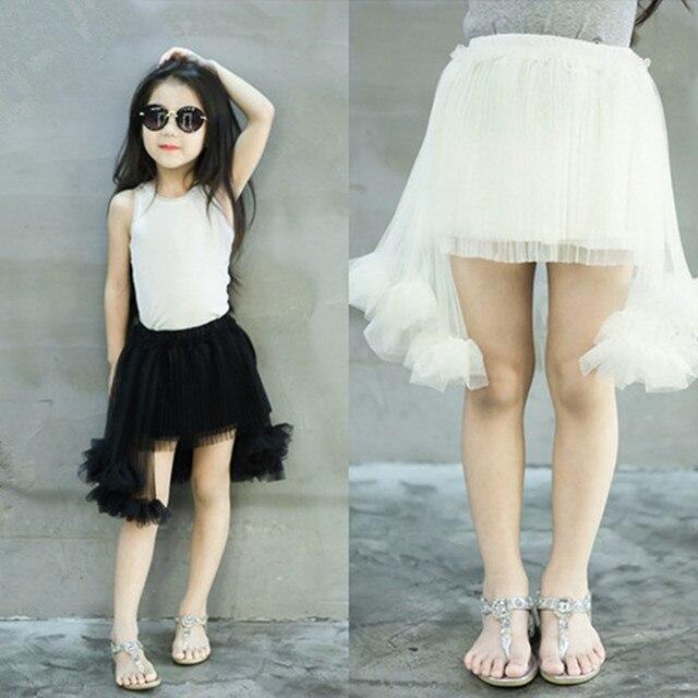 2016 nova summer new baby girls tutu skirt Irregular pettiskirt  children mesh skirts suit 2-7T black faldas jupe