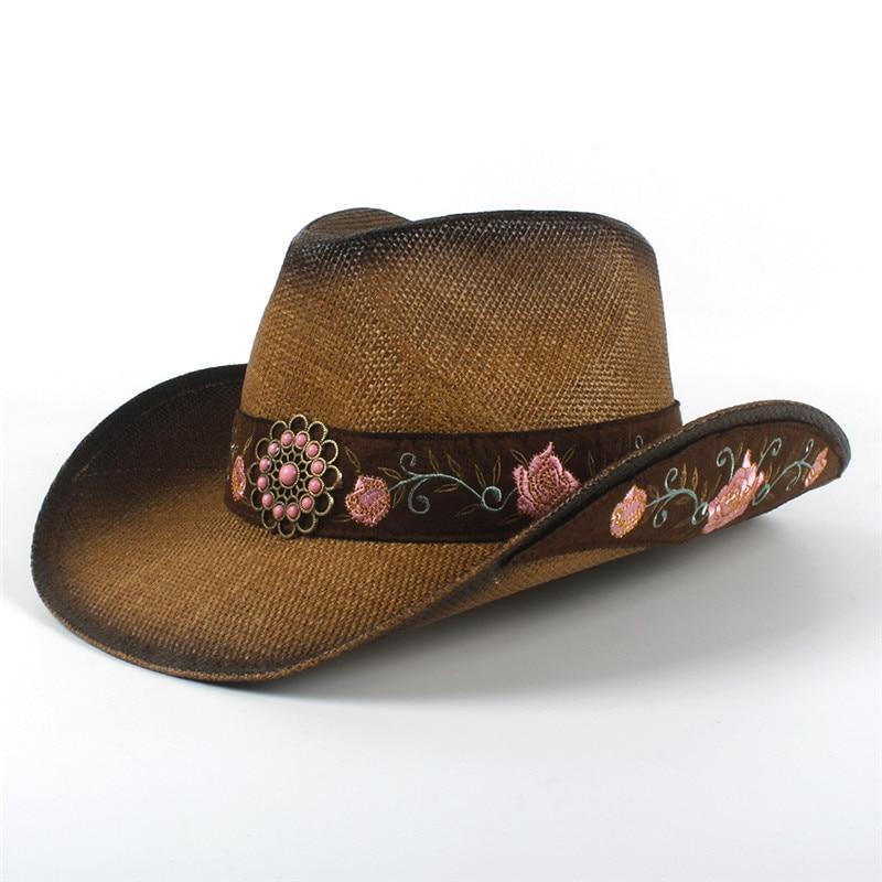 Chapeau de Paille Dames Femmes Western Chapeau De Cowboy De Paille avec Gland Cuir Band Star Lady Papa Sombrero Hombre Cowgirl Jazz Caps Chapeau de Soleil /à Large Bord Pliable Pare-Soleil