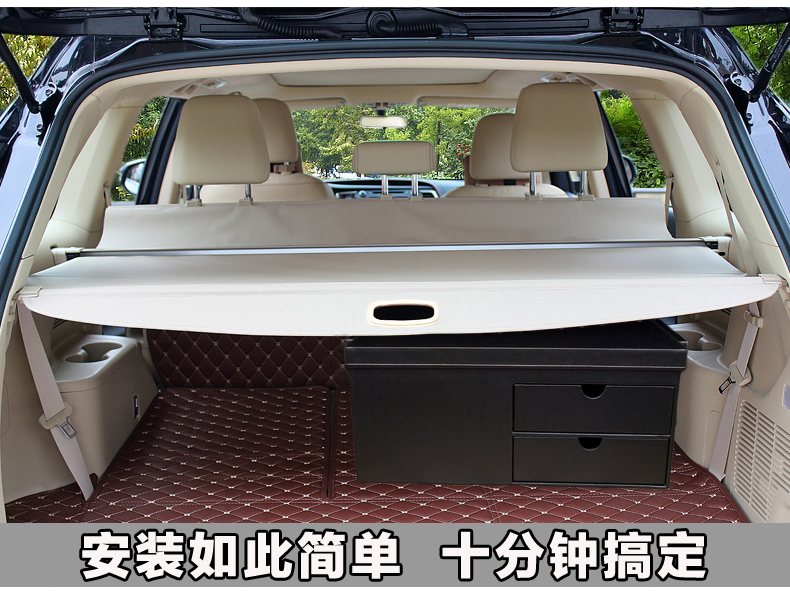 Aluminium alloy + Fabric Rear Trunk Security Shield Cargo Cover for Ford Everest Endeavour 4Dr SUV 2015 2016 2017 car rear trunk security shield shade cargo cover for honda fit jazz 2004 2005 2006 2007 black beige
