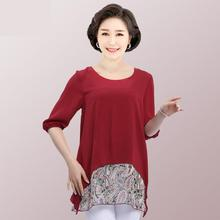 Middle Age Women Summer Print Chiffon Shirt Loose Casual Mother Lantern Sleeves Blouses O-neck Plus Size 5XL Clothing For Female