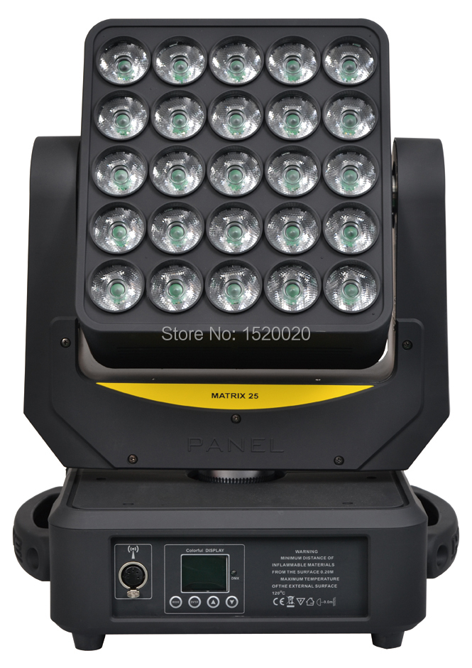 2pcs/lot 5x5 matrix led 25*12w 4in1 RGBW moving head light Artnet and Wireless wash effect disco mobile light