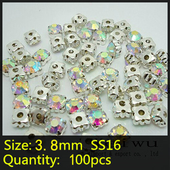 Weiwu Rhinestones Import and export company 100pcs Sew On Crystal Stones Silver Base Rhinestones Clear Crystal AB SS16 Sewing Rhinestone