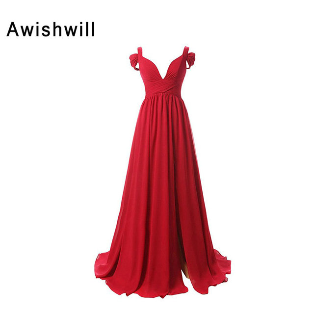 Real Image Red Long Evening Gowns Spaghetti Strap Chiffon Floor Length  Cheap Party Dress Made in d4eee10e1e2f