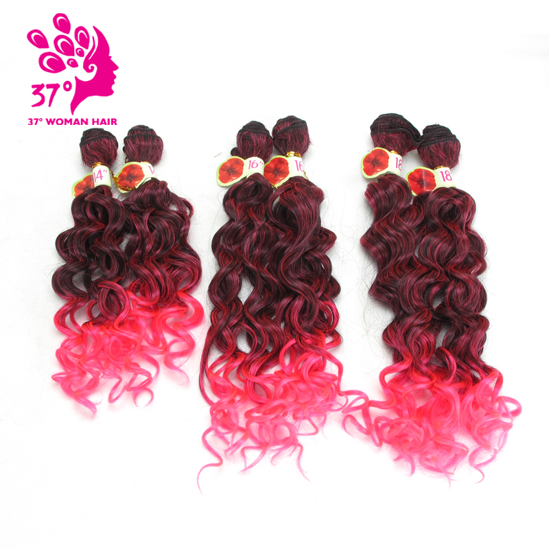Dream ice's Hair Weaving Ombre Black Pink Color Weave Hair Curly Synthetic Hair Extensions for full head 6pcs/ lot 14 16 18 inch