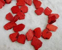 One Strands Loose Beads 20x35mm Hot Red stone Howlite Slice Stone Freeform Slab 40cm/16inch Exaggerate Stone