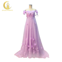 JIALINZEYI Real Picture Sexy Purple Hand Flowers With Feather Pregnant A Line Party Dresses Prom Dress