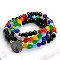 108 Mala Chakra Black Agate Bracelet 7 chakra Yoga Meditation Tree of Life Pendent Bracelet for Women Pure Natural Stone  Bangle