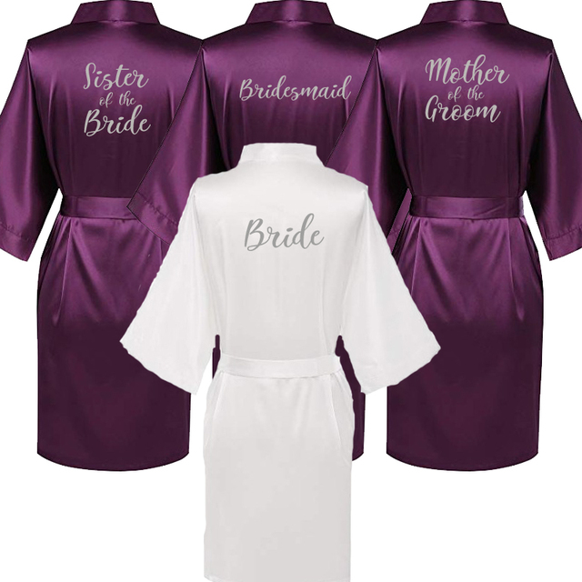 2057881d90 C Fung new purple robe silver writing mother of the groom robes wedding  Short Bride kimono bridesmaid satin robe drop shipping