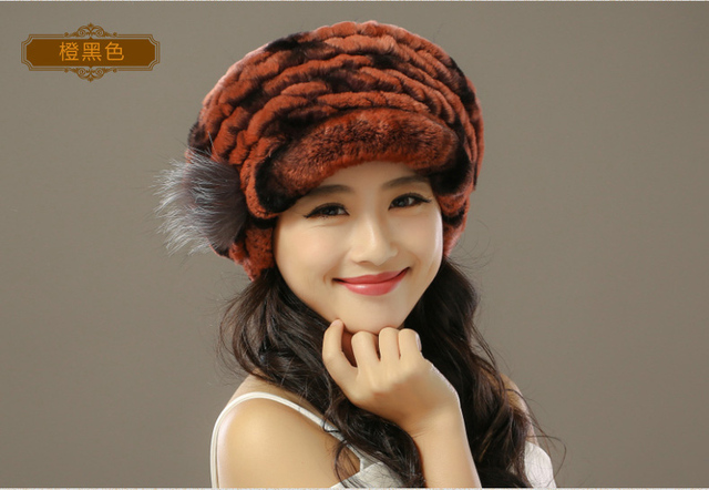 Dl-10821 Elegant Women Thick Warm Winter Beanies Knit Pineapple Hat Rex Rabbit Fur Cap Autumn Lady Female Fashion Headgear